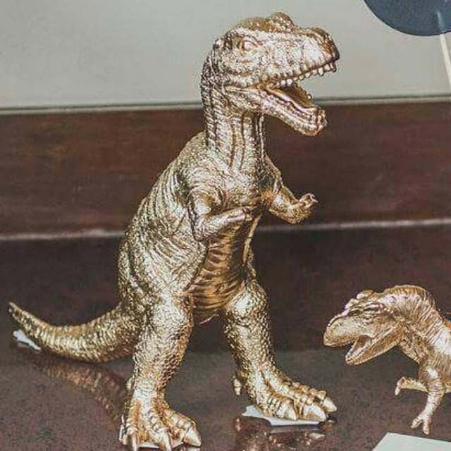 Gold Dinosaur Topper T Rex Tyrannosaurus Figurine Animal Figurines Whimsical Vine Golden Dino Party Birthday Photo Prop Glam